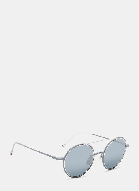 Round Aviator Front Frame Mirrored Sunglasses