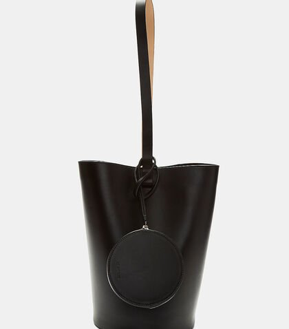 Toggle Tied Leather Basket Bag