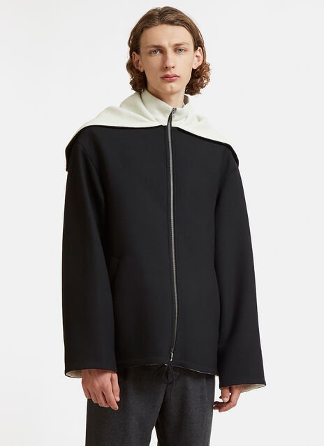 Oversized Zipped Hood Wool Jacket