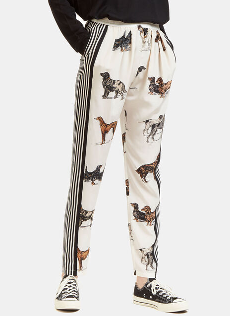 Dog Print Silk Trousers