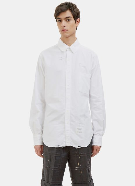 Phase 3 Distressed Rounded Collar Oxford Shirt