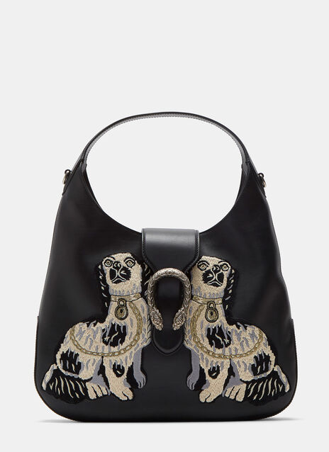 Dionysus Medium Dog Embroidered Hobo Bag