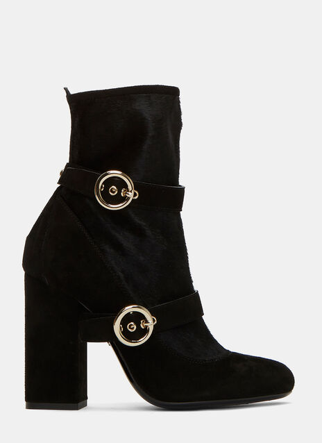 Double-Strapped Calf Hair Ankle Boots