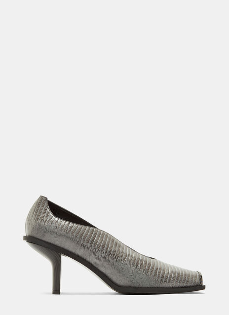 Faux Alligator Square Toe Pumps