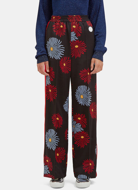 Floral Print Flared Track Pants