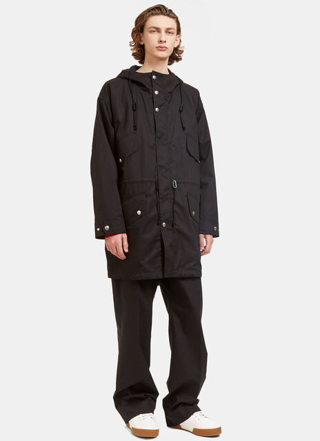 Hooded Press Stud Poplin Parka Jacket