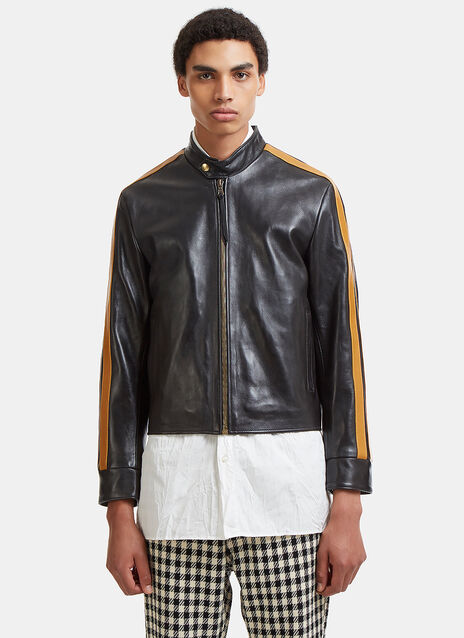 Chapal Racing Stripe Cropped Leather Jacket