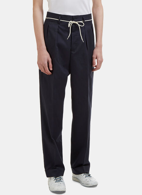 Cuffed Twill Striped Tailored Pants