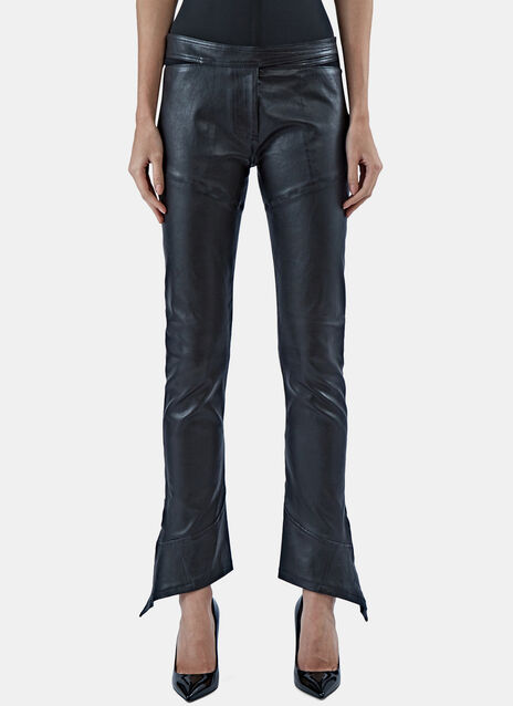 Paco Rabanne Slim Flared Cuff Leather Pants