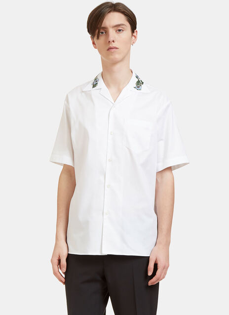 Floral Embroidered Oxford Bowling Shirt
