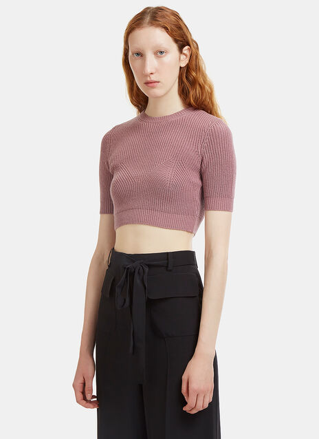Cropped Ribbed Knit T-Shirt