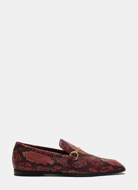 Faux Snakeskin Loafers