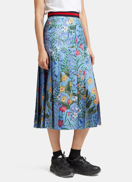 New Flora Print Silk Pleated Skirt