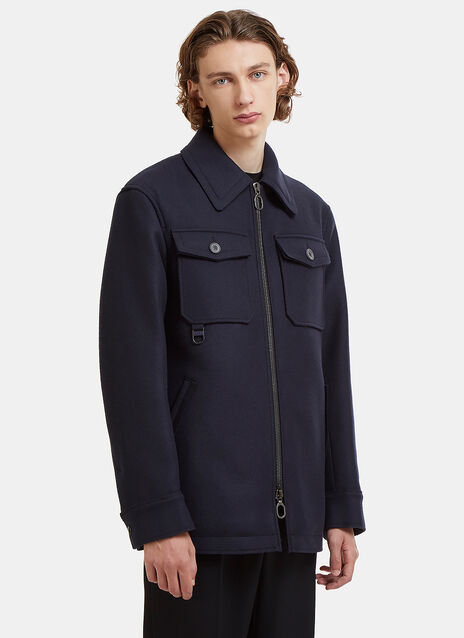 Lanvin Oversized Patch Pocket Felted Field Jacket