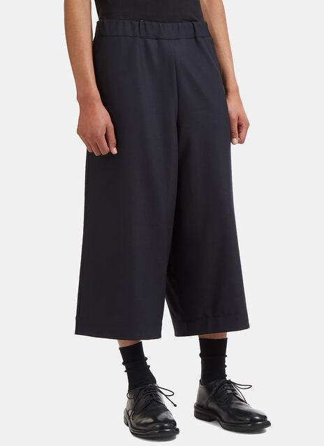 Oversized Cropped Wide Double Layered Pants