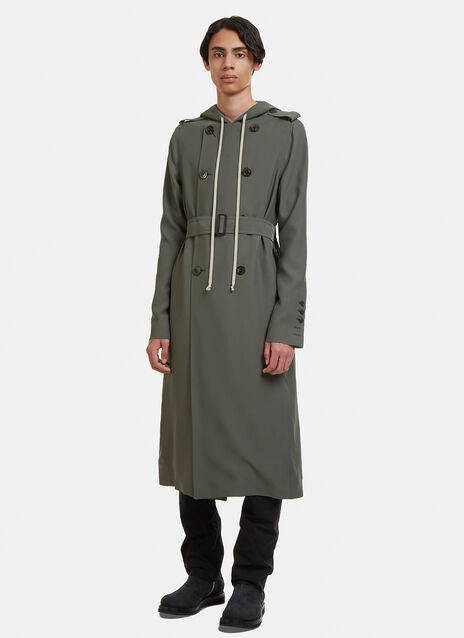 Rick Owens Double Breasted Hooded Soft Trench Coat