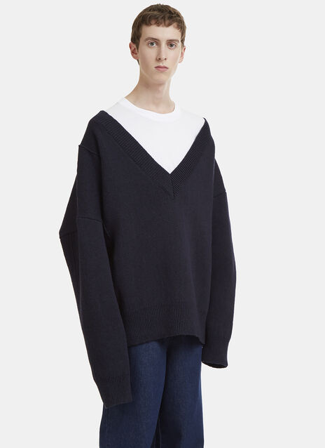 Raf Simons V-Neck Knit Sweater