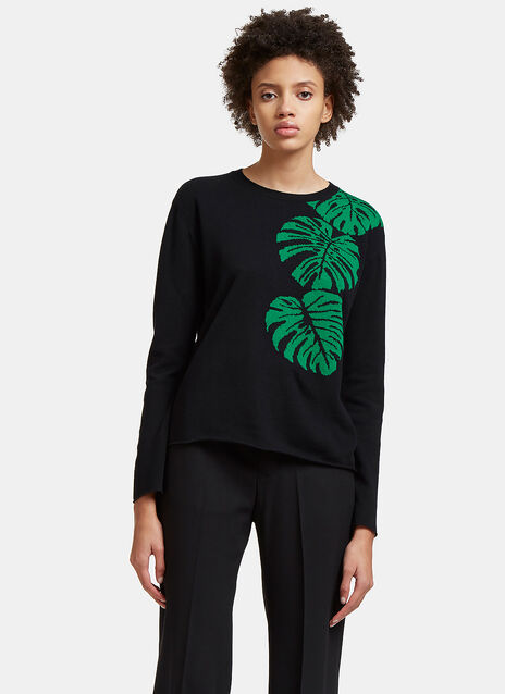 Jungle Leaf Intarsia Knit Sweater