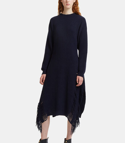 Long Frayed Ribbed Knit Sweater Dress