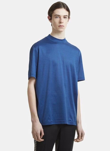Lanvin Fine Striped Mock Neck T-Shirt