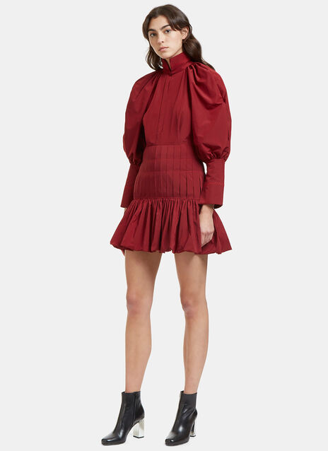 Skyward Balloon Sleeved Pleat Dress
