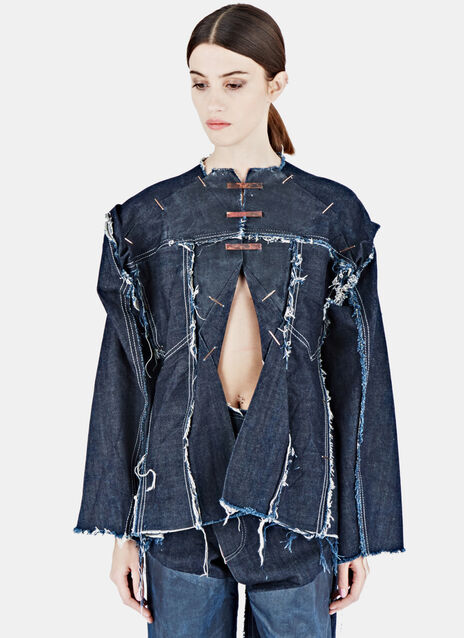 Cut-Out Frayed Denim Shirt