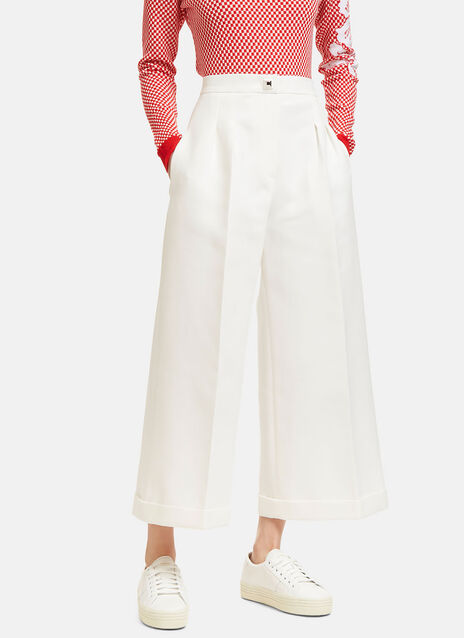 Double Crêpe Wide Leg Cropped Pants