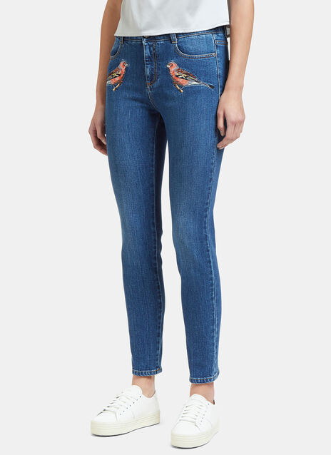 Bird Embroidered Slim Leg Jeans
