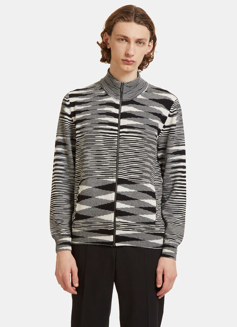 Striped Knit Zip-Up Sweater