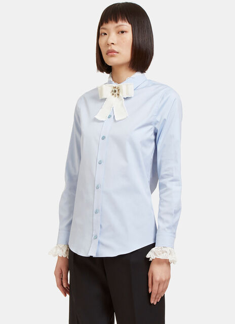 Bejewelled Bow Brooch Lace Collared Poplin Shirt