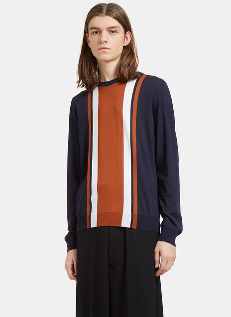 Striped Panel Round Neck Sweater