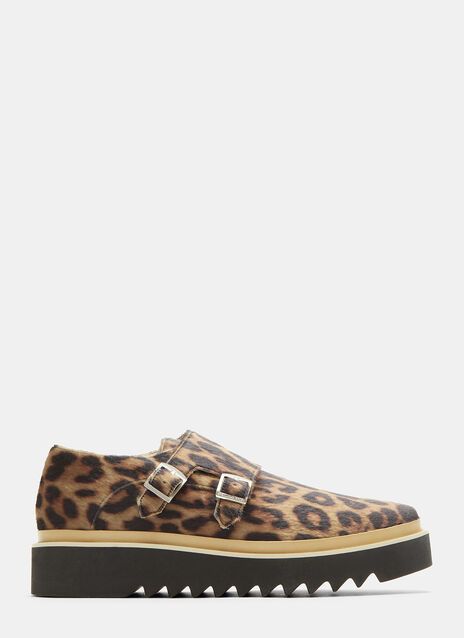 Luis Leopard Print Monk Strap Platform Brogue Shoes