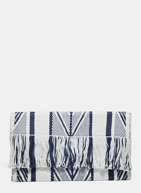 Oversized Woven Fringed Clutch Bag