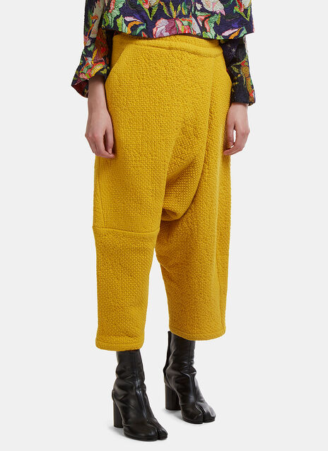 Asymmetrical Cropped Honeycomb Drop Crotch Pants