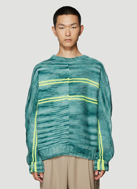 Martine Rose Hand-Knit Sweater in Green