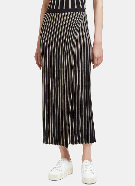 Raw Pinstriped Wrap Skirt