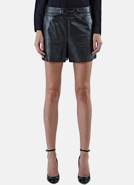 Structured Leather Shorts