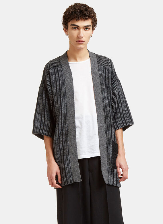 Curieux Mixed Yarn Knitted Noragi Cardigan