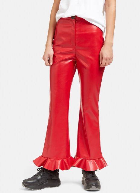 Jellyfish Frill Flared Faux Leather Pants