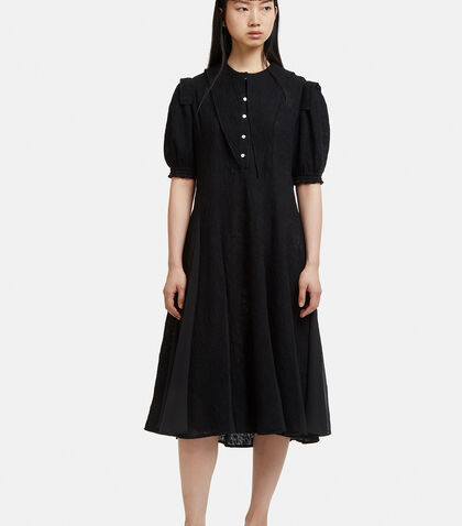 Pointed Collar Shirt Dress in Black