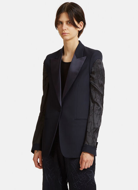 Deconstructed Contrast Sleeved Blazer Jacket