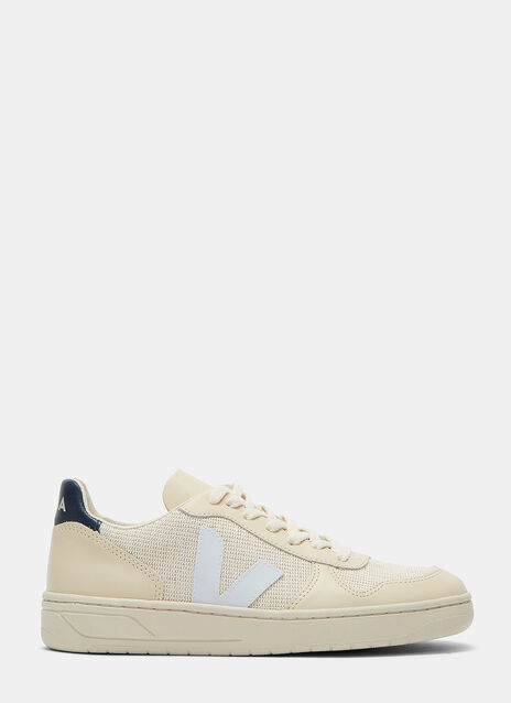 V-10 Mid-Top Jute and Leather Panelled Sneakers