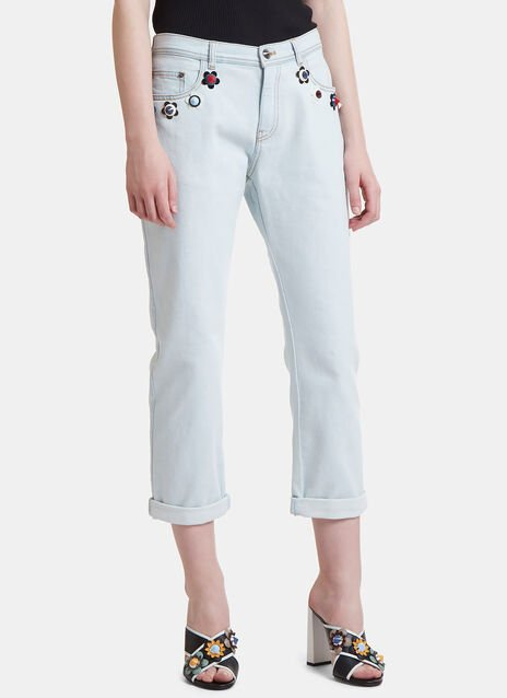 Flower Appliqué Cropped Jeans