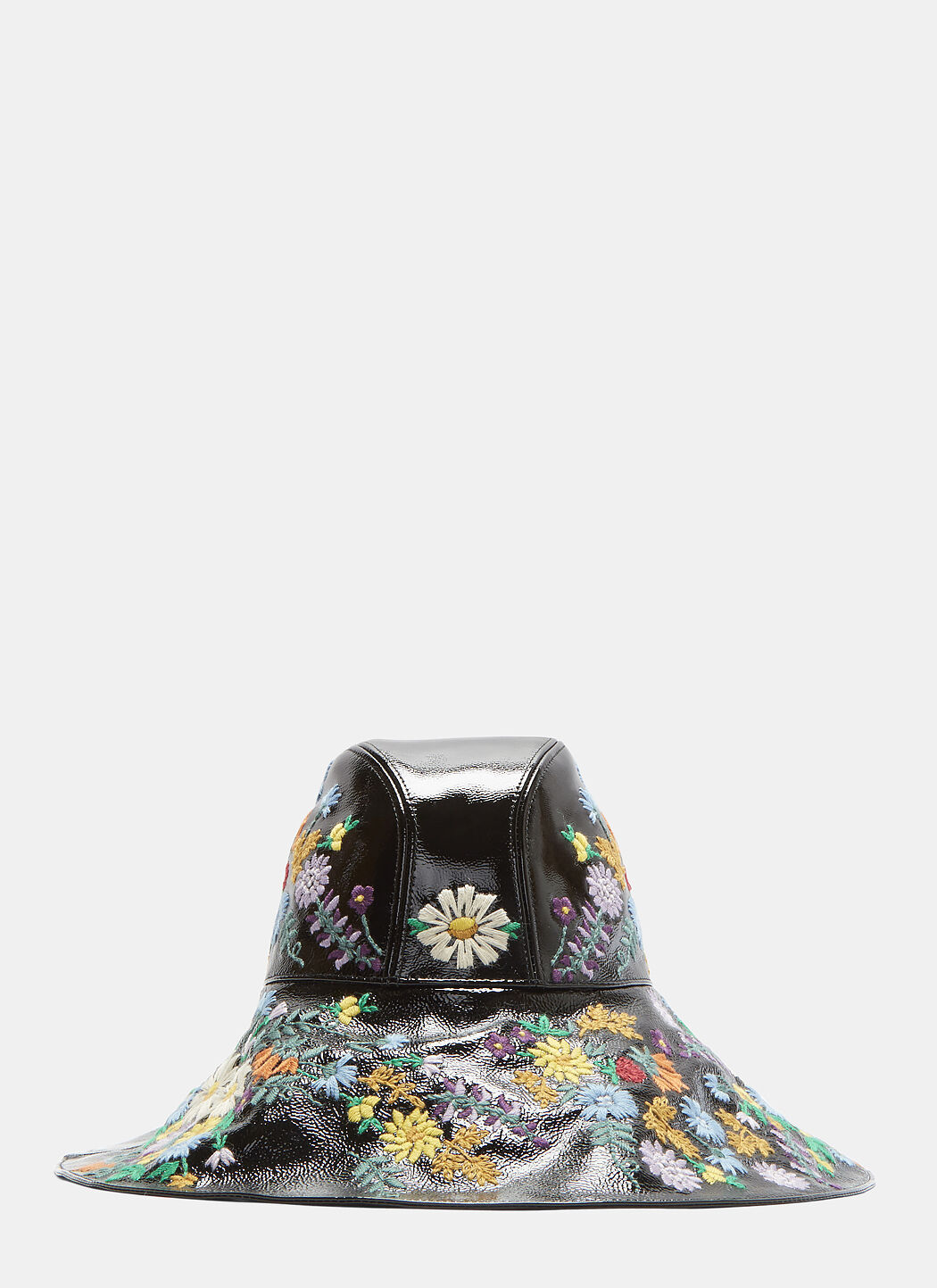 GUCCI PATENT FLORAL EMBROIDERED HAT IN BLACK  c447b0e9317