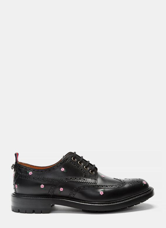 Gucci Floral Embroidered Leather Brogues