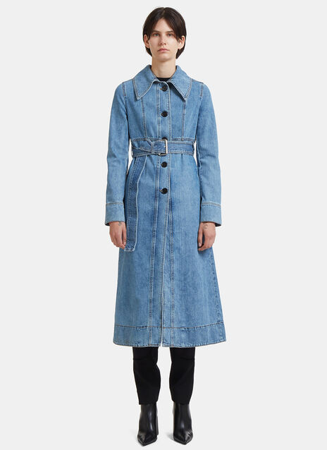 Long Belted Denim Trench Coat