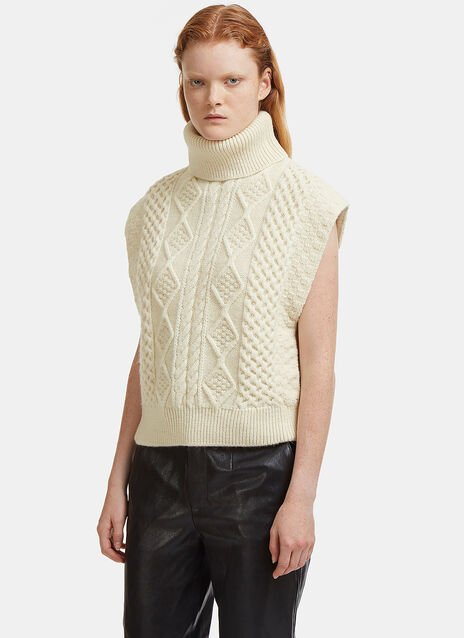Saint Laurent Cable Knit Roll Neck Poncho Sweater