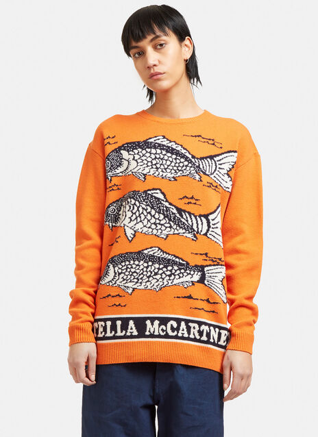 Oversized Fish Intarsia Knit Sweater