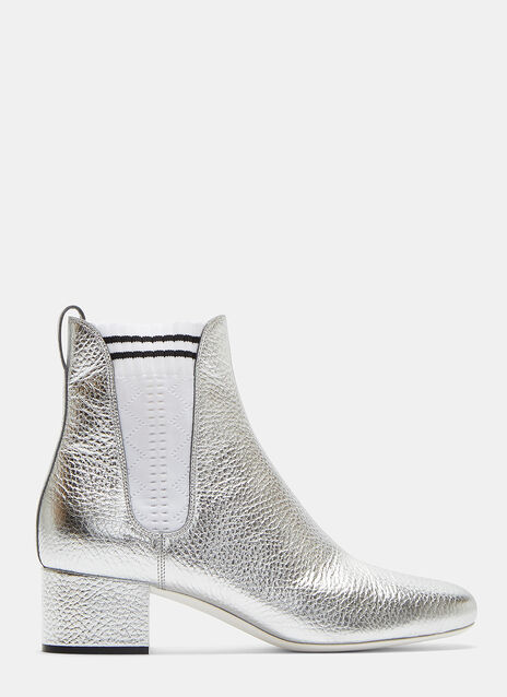 Zigzag Knit Panel Metallic Ankle Boots