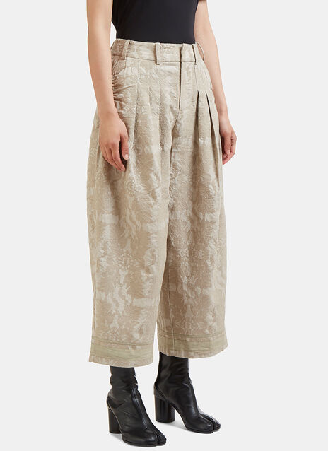 Renli Su Cropped Wide Leg Damask Jacquard Pants